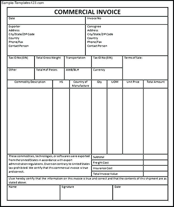 Commercial Invoice Template Quickbooks
