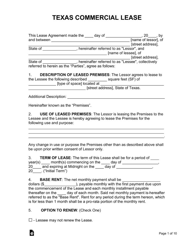 Commercial Lease Agreement Texas Template