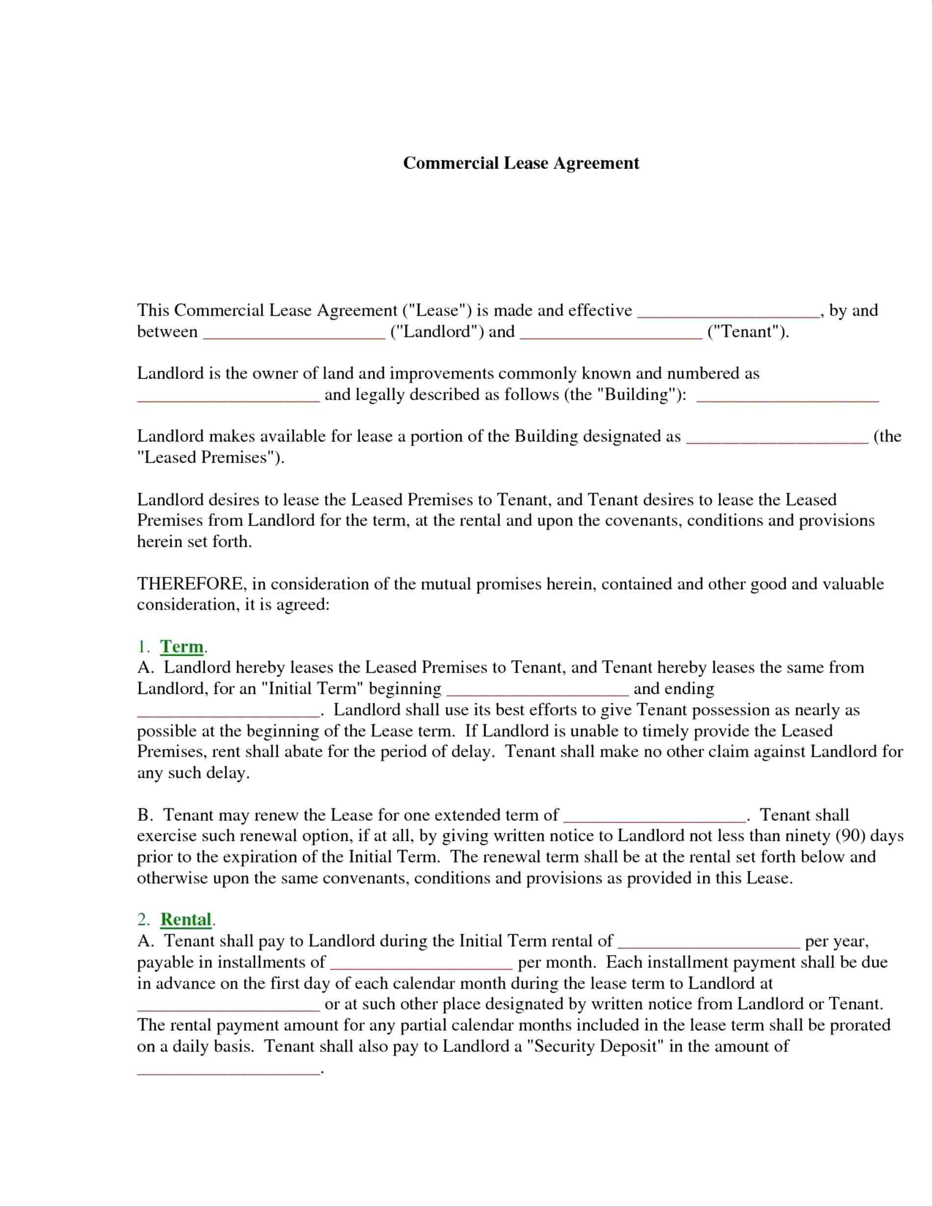 Commercial Lease Contract Template Uk