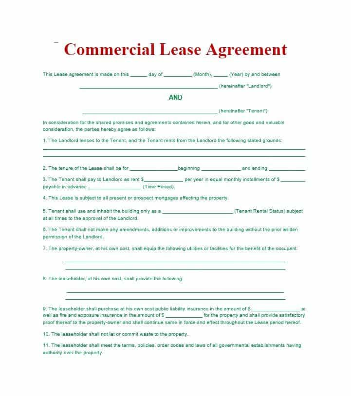 Commercial Lease Word Template