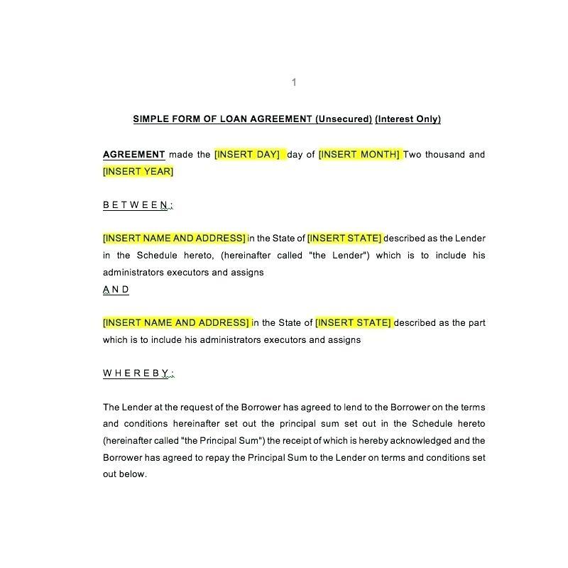 Commercial Loan Agreement Template Free
