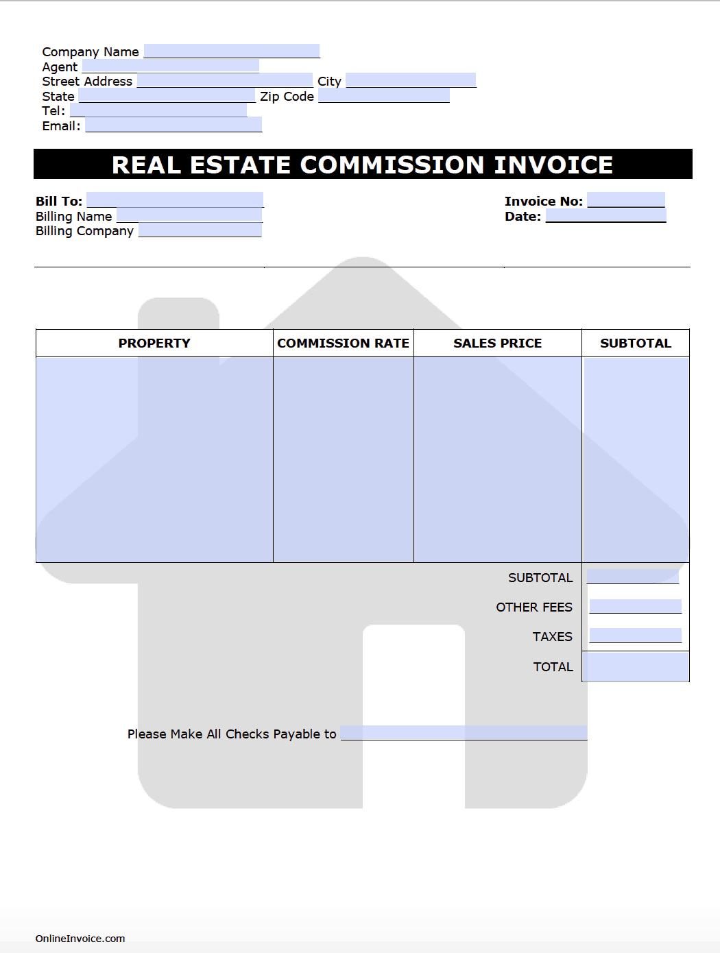 Commercial Real Estate Invoice Templates