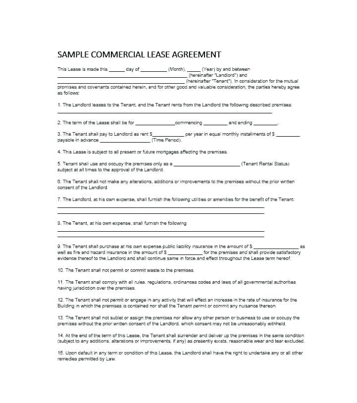 Commercial Rental Agreement Template Nsw