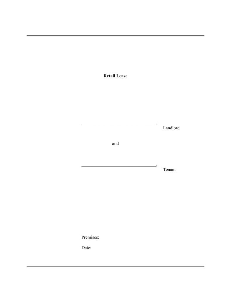 Commercial Retail Lease Agreement Template