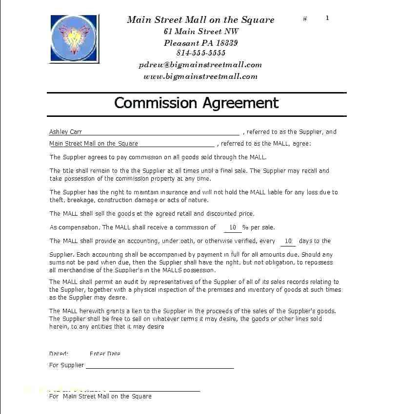 Commission Agreement Template Australia