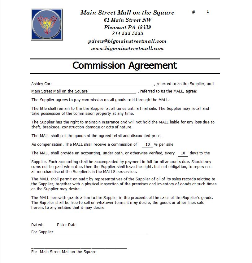 Commission Agreement Template Free