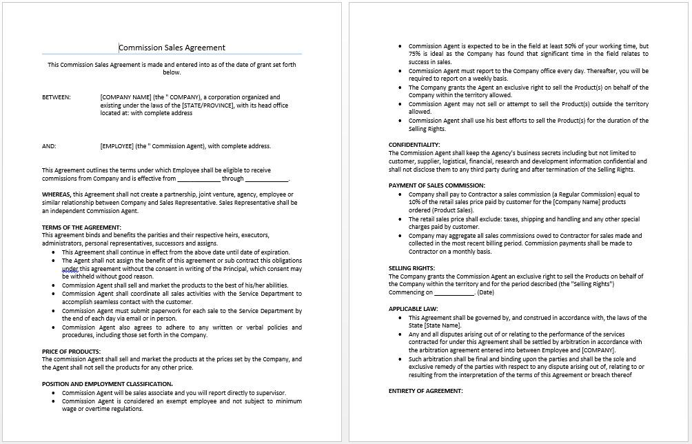 Commission Agreement Template South Africa