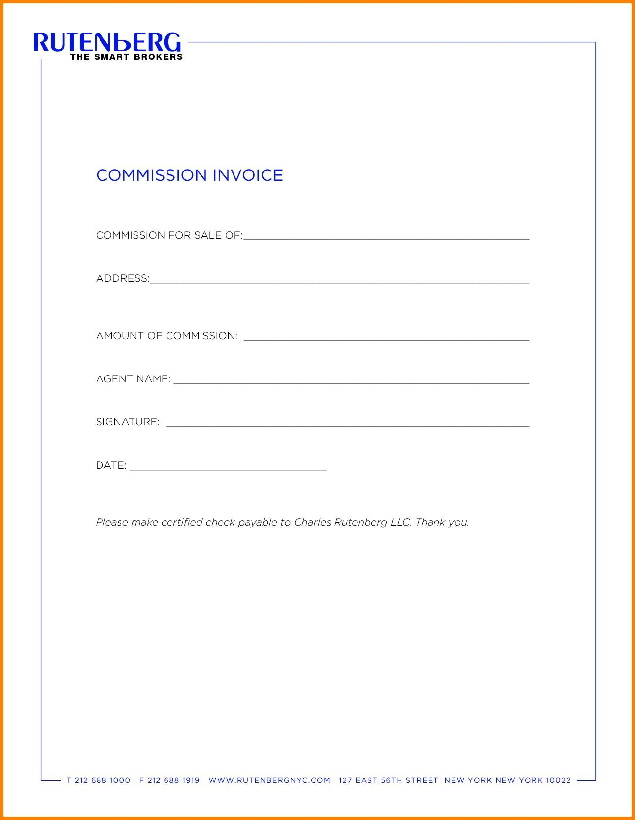 Commission Invoice Template Word
