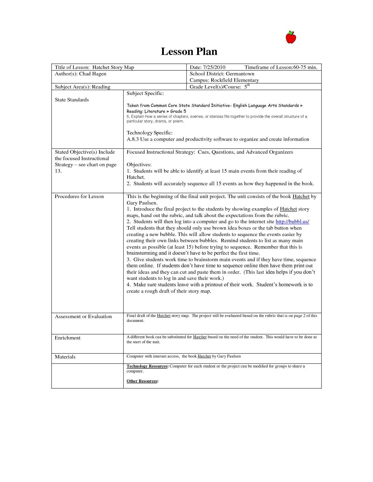Common Core Observation Lesson Plan Template Pdf