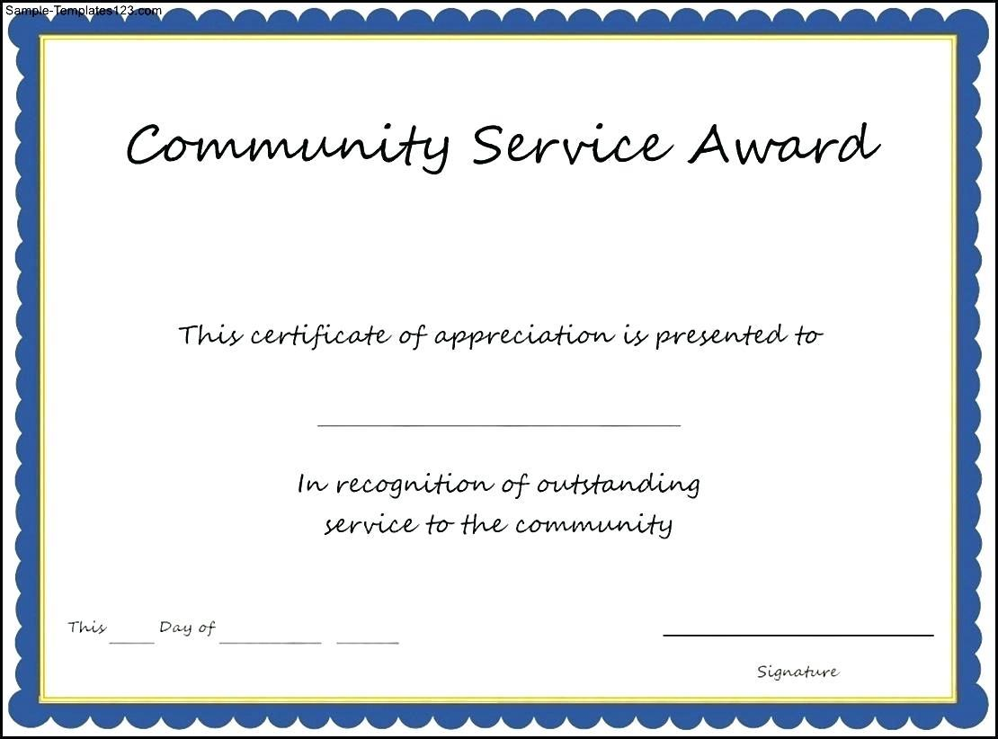 Community Service Award Certificate Sample