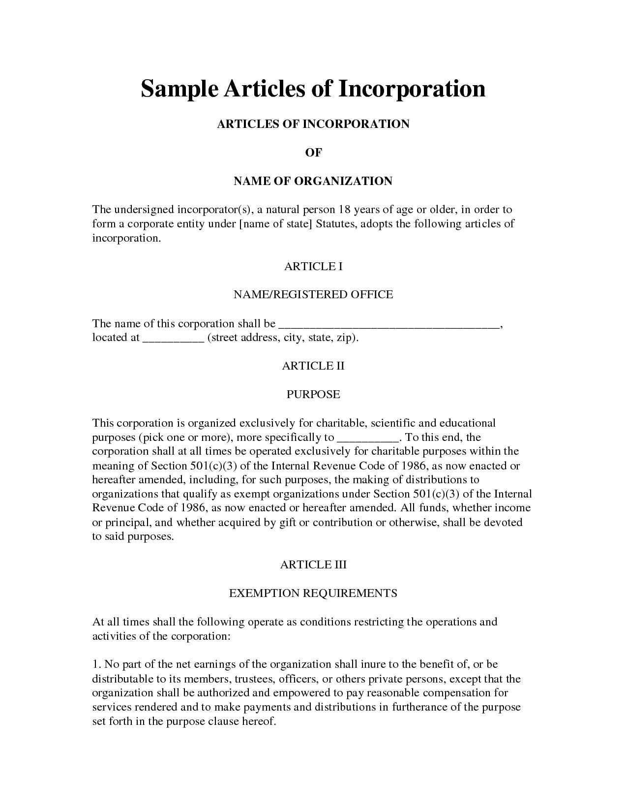 Company Articles Of Incorporation Template