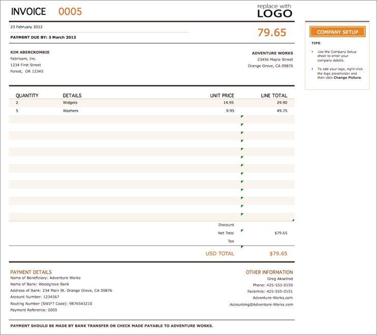 Company Invoice Template