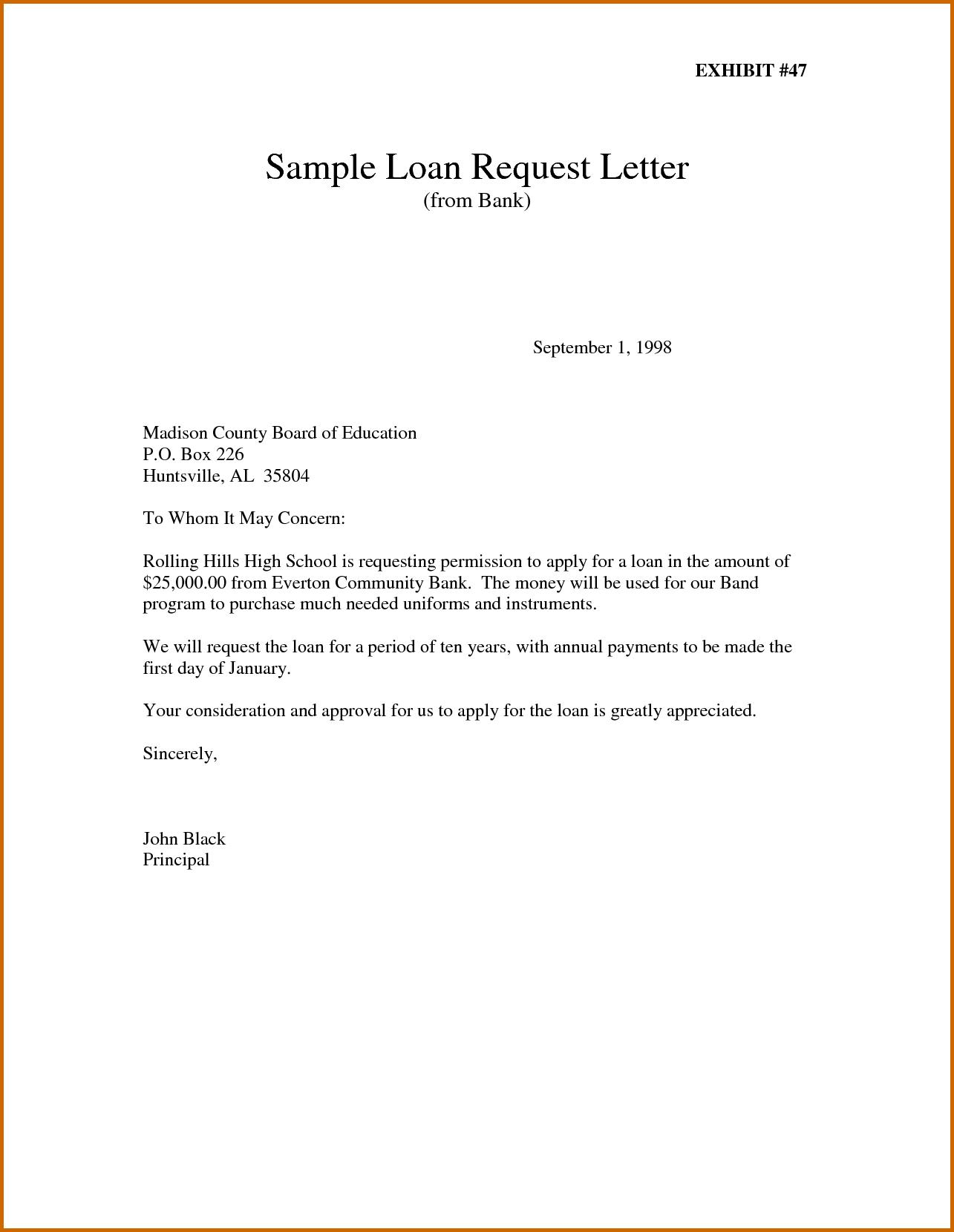 Company Loan Application Letter Template
