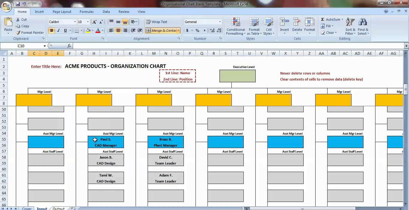 Company Organization Chart Template Excel
