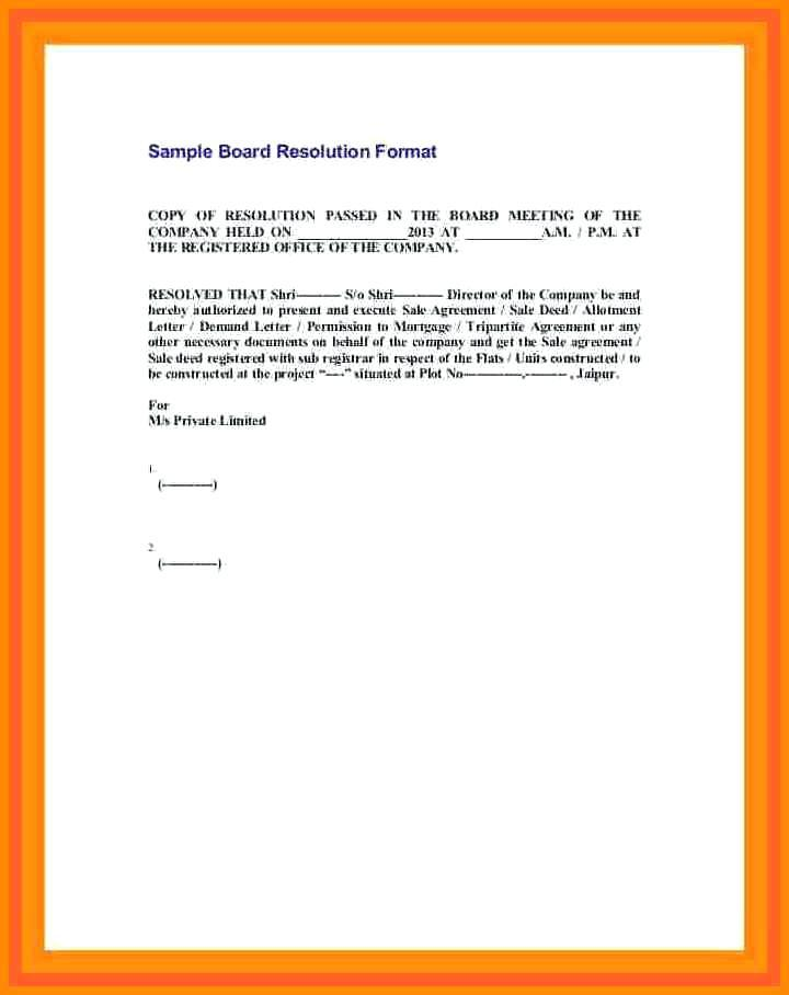 Company Resolution Letter Template