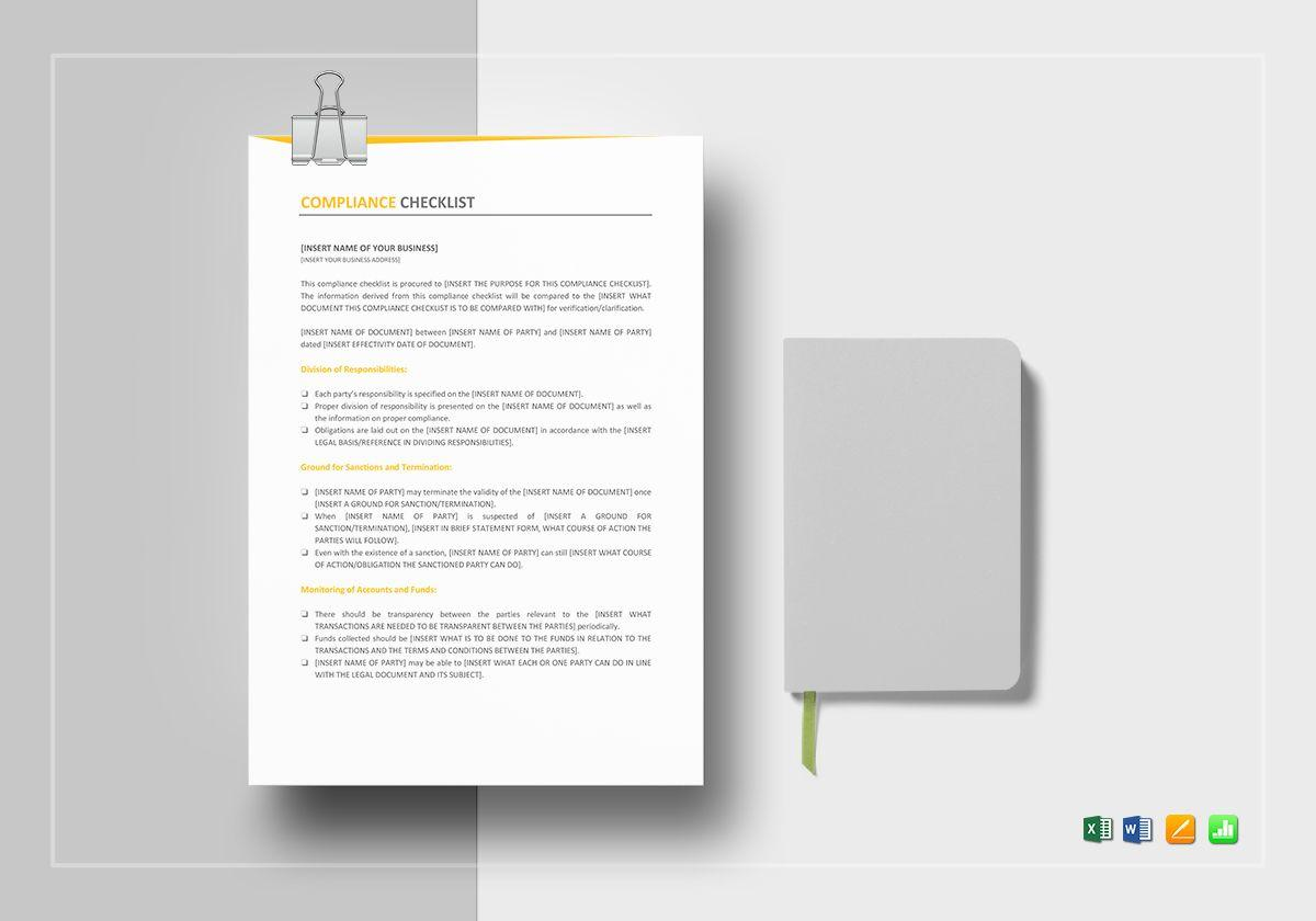 Compliance Checklist Template Excel