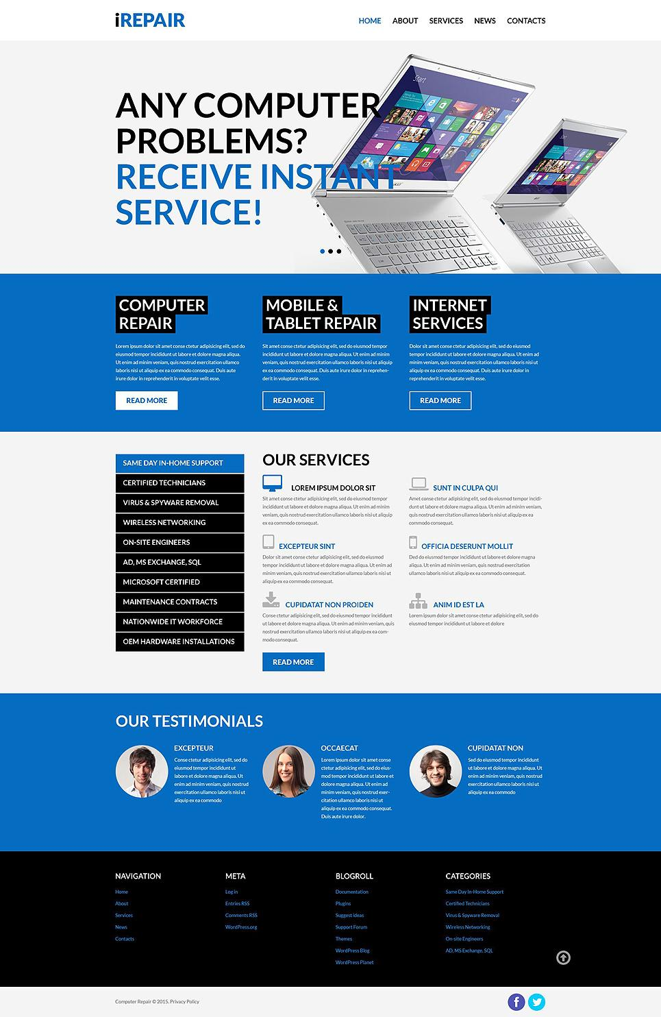 Computer Repair Services Website Template Free