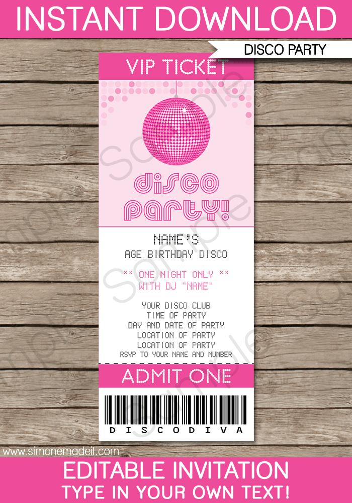 Concert Ticket Party Invitations Template