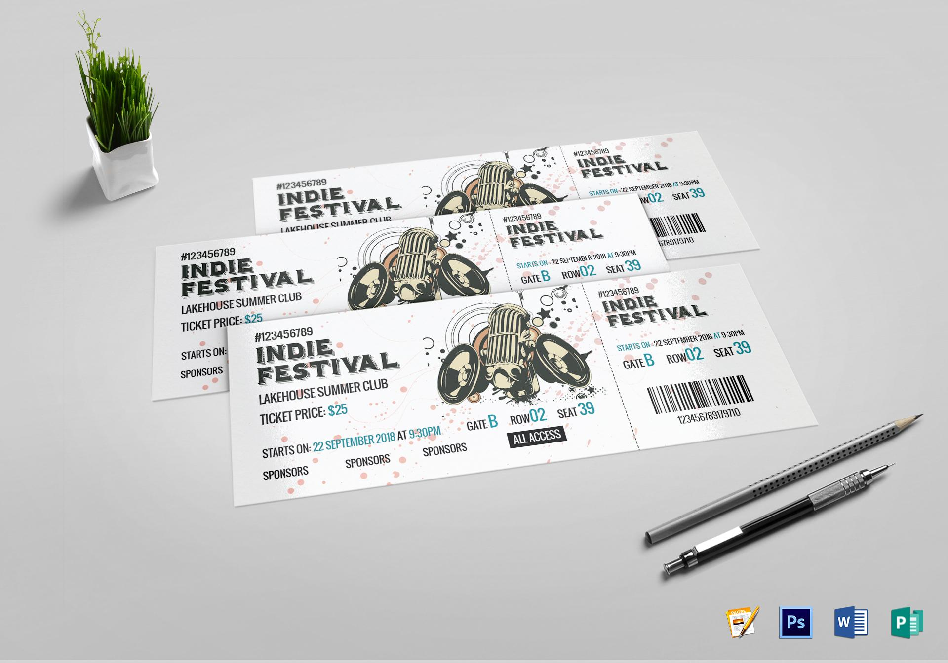 Concert Ticket Template Pages