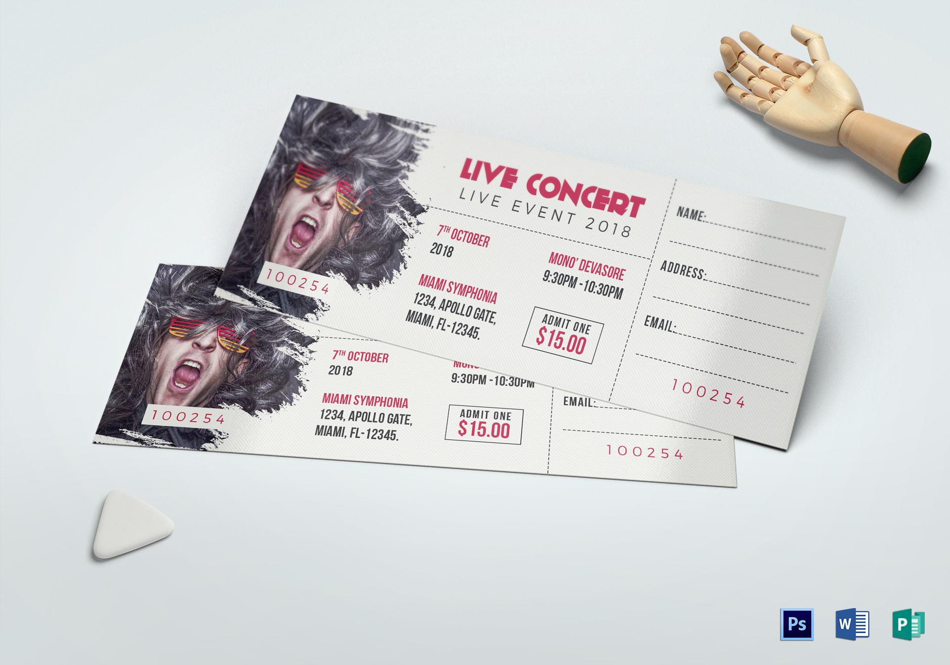 Concert Ticket Template Publisher