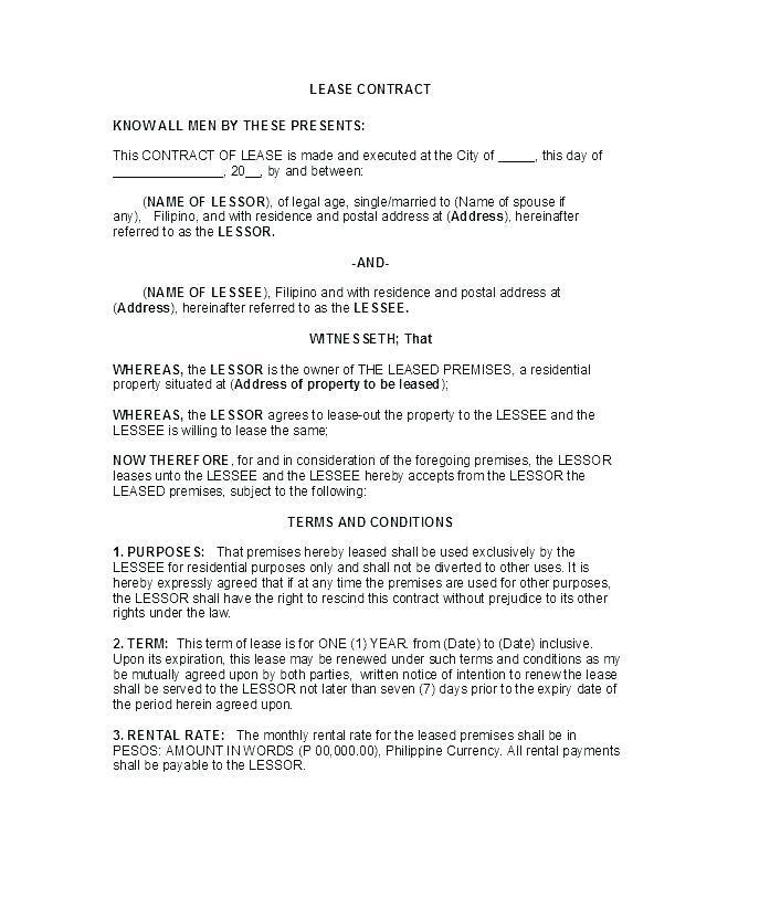 Condo Rental Agreement Contract