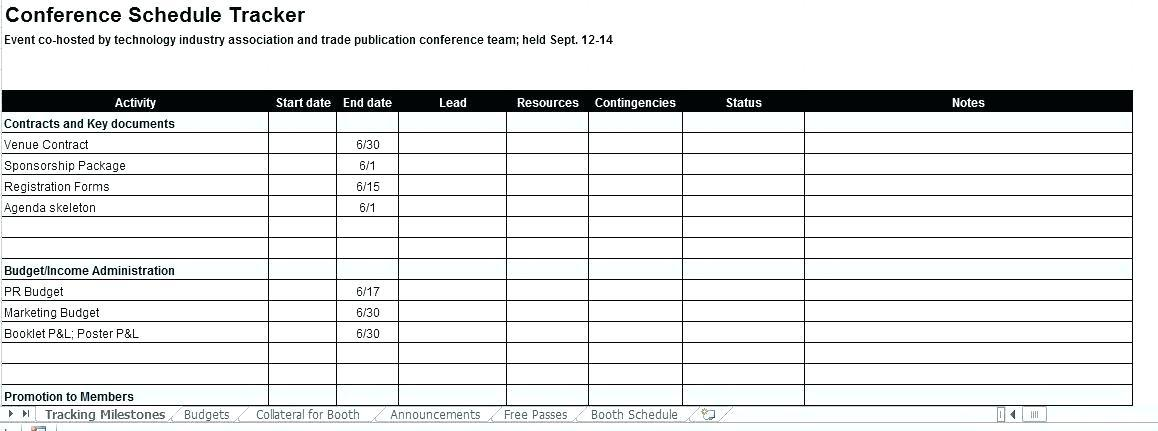 Conference Planning Timeline Template Excel