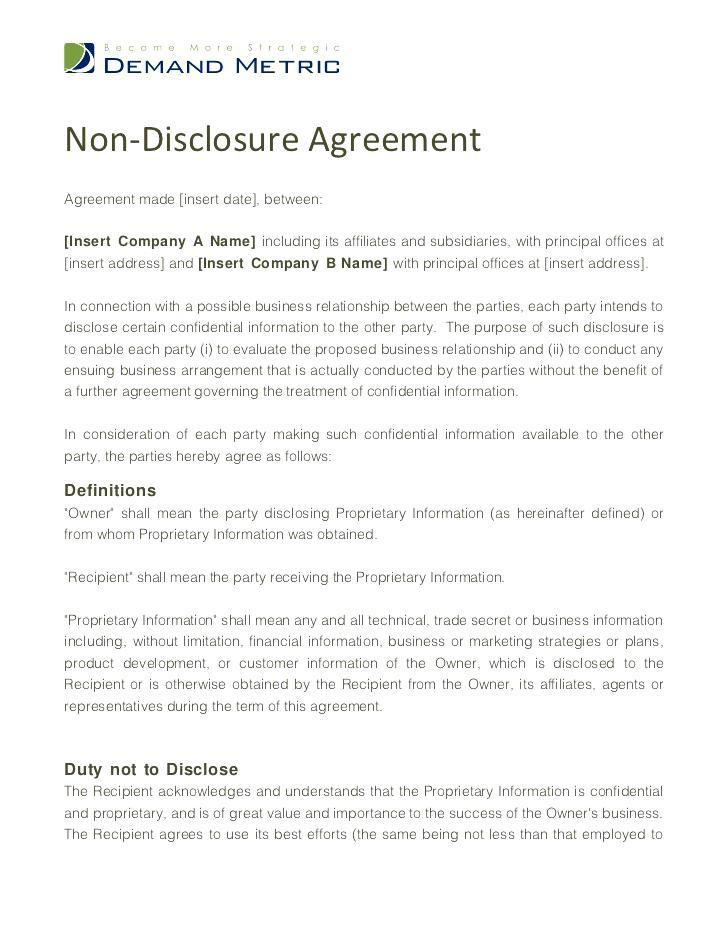 Confidentiality Agreement Free Template Australia