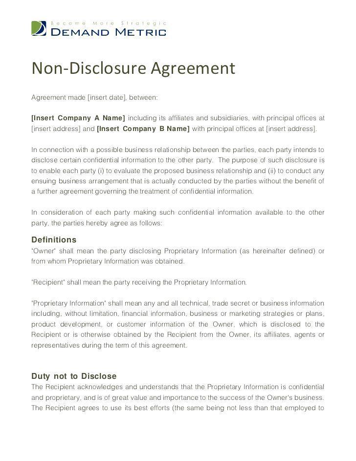Confidentiality Agreement Free Template Australia