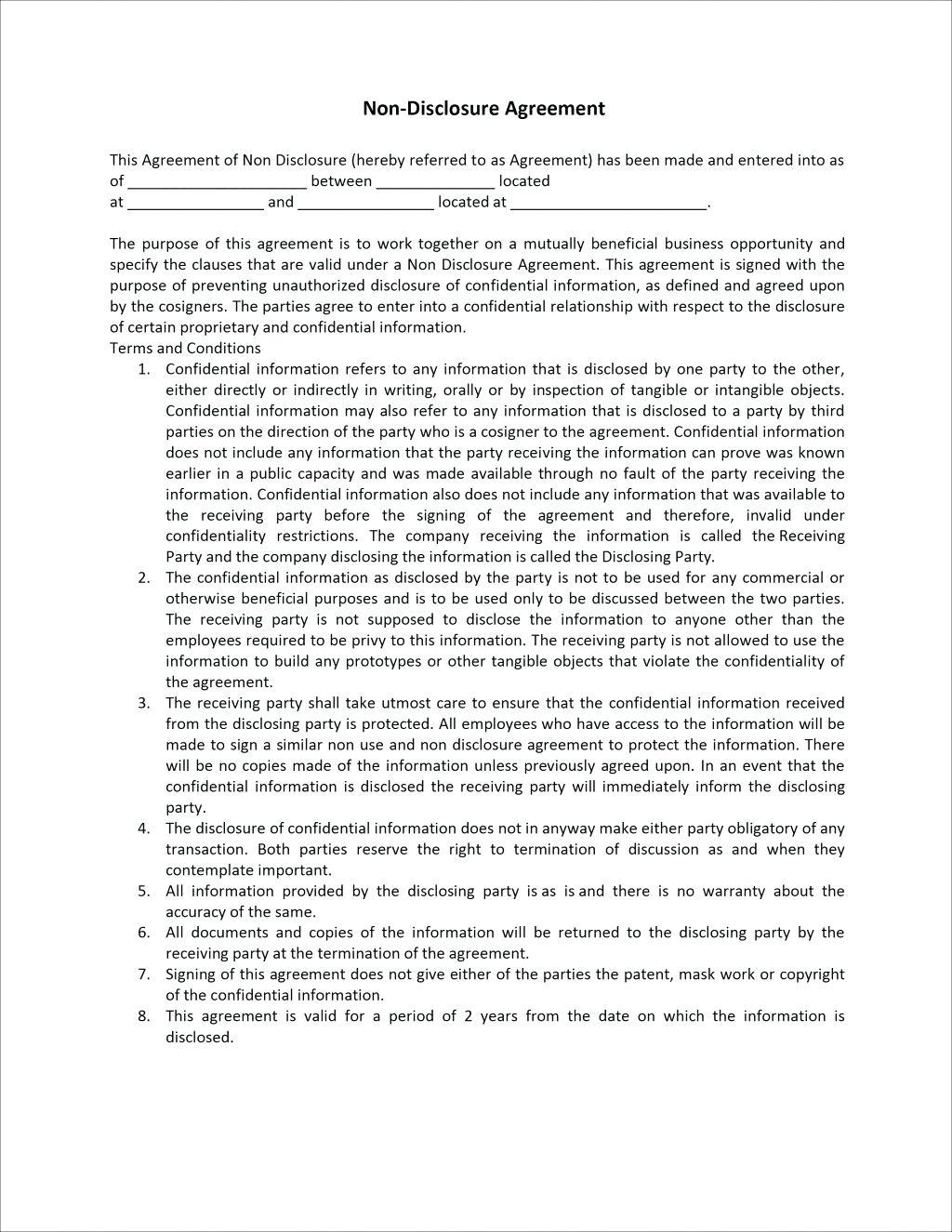 Confidentiality Agreement Template For Employees