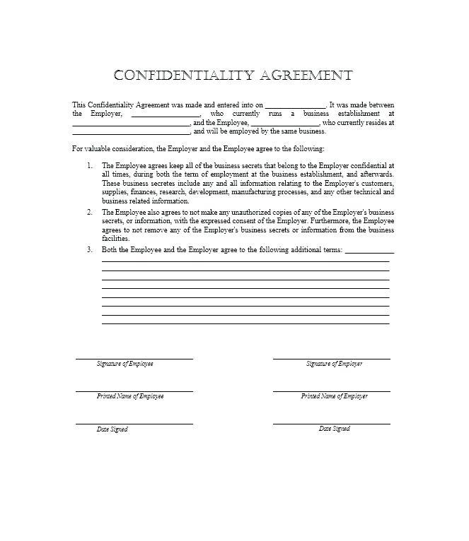 Confidentiality Agreement Template Free Uk