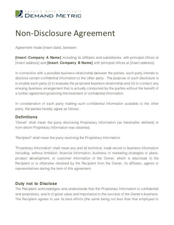 Confidentiality Agreement Template Nz Free