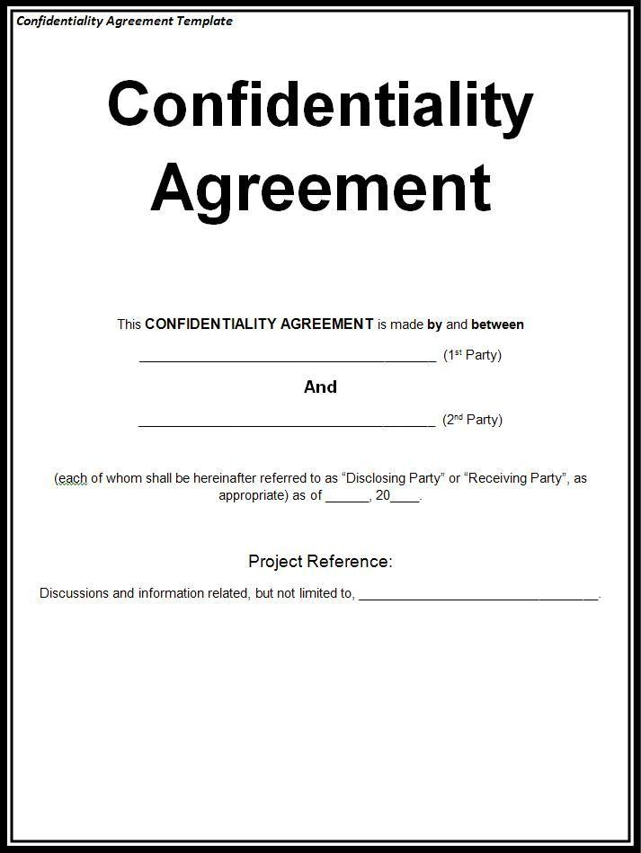 Confidentiality Agreements Template