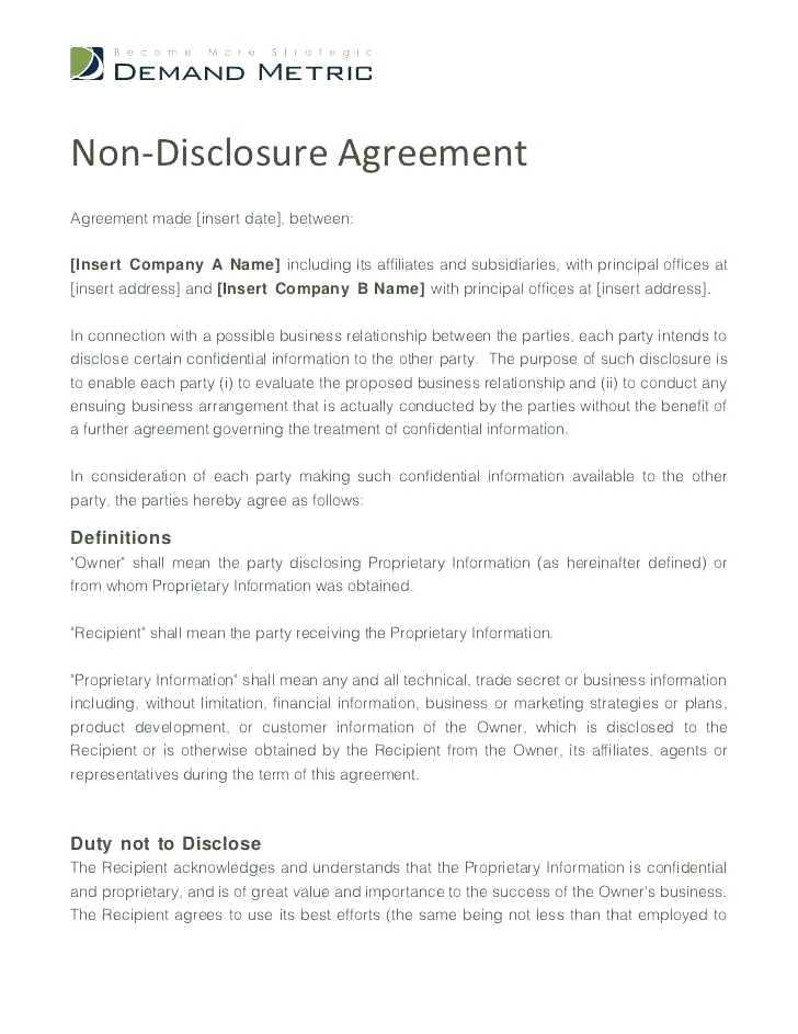 Confidentiality Non Disclosure Agreement Template