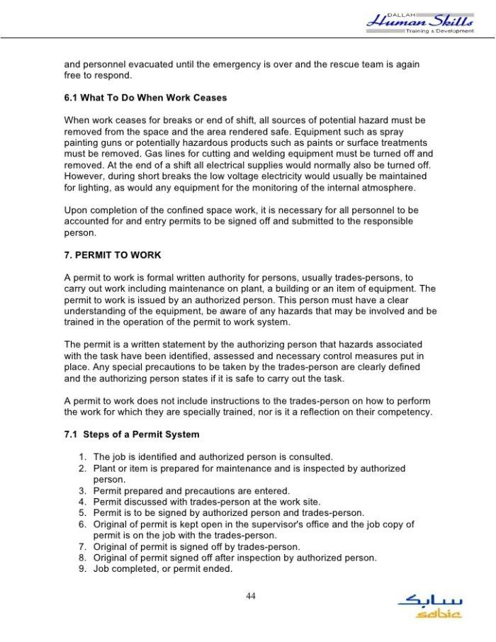 Confined Space Emergency Plan Template