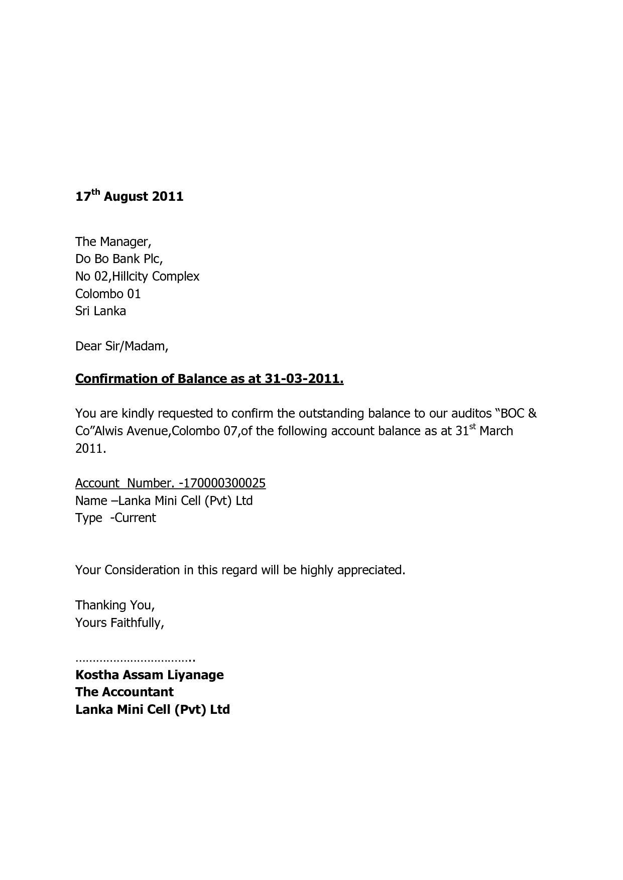 Confirmation Letter Audit