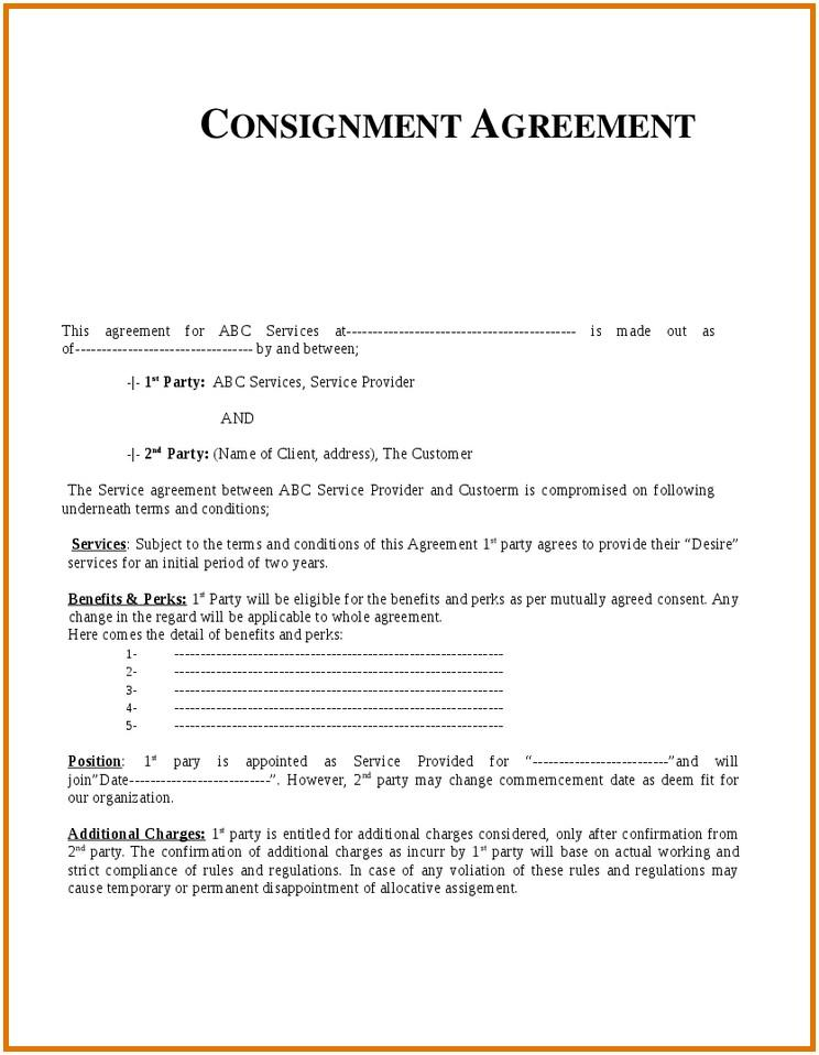 Consignment Sale Agreement Template