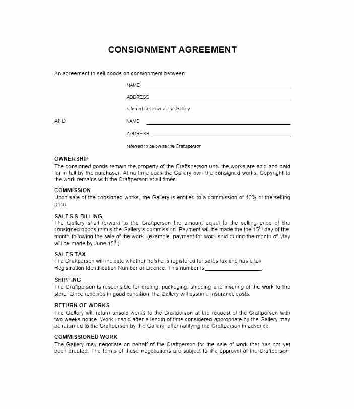 Consignment Store Contract Template
