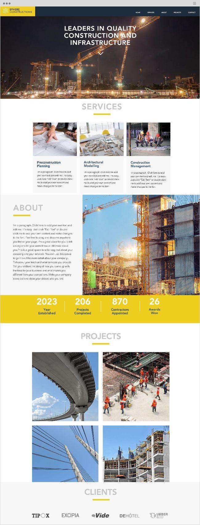 Construction Company Websites Templates