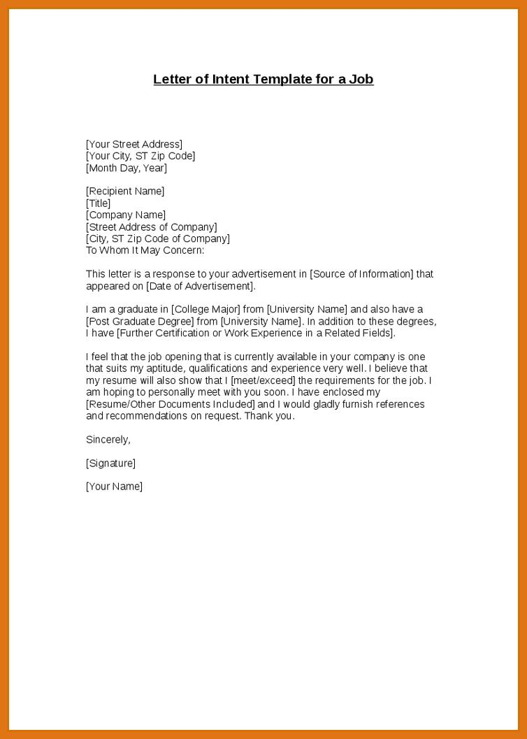 Construction Contract Letter Of Intent Template