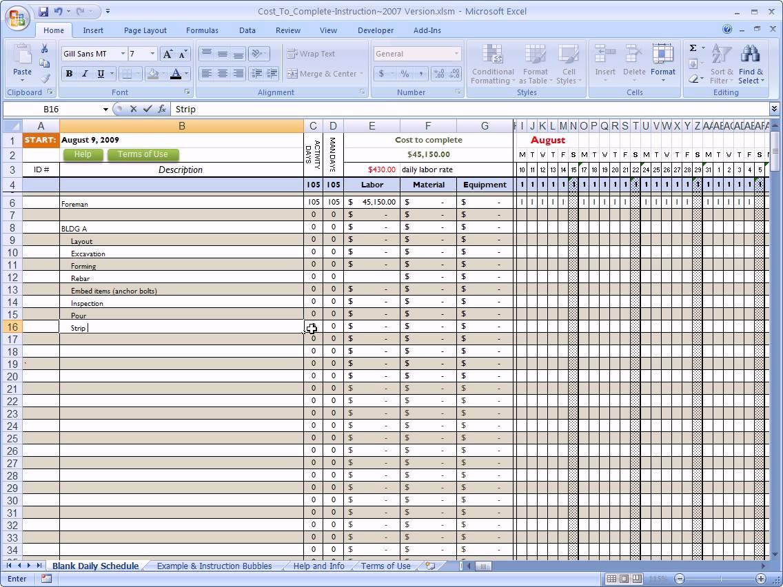 Construction Cost Estimate Spreadsheet Template