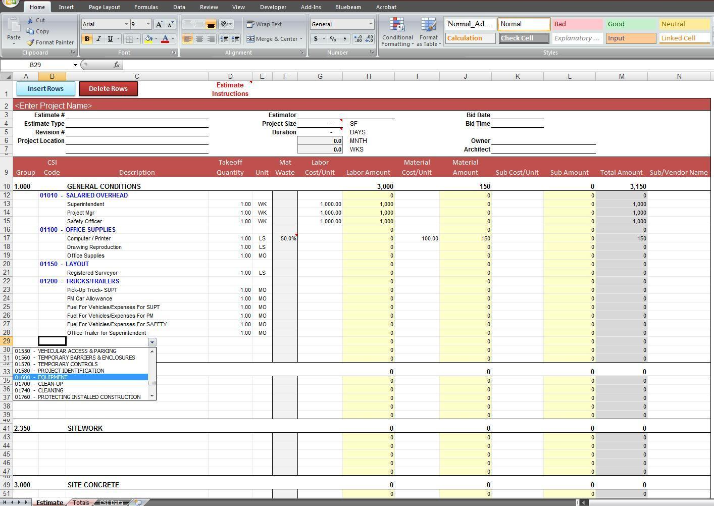 Construction Estimate Template Philippines