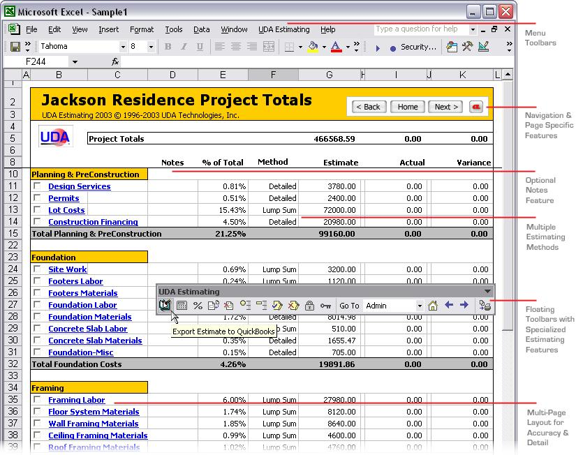 Construction Estimating Templates