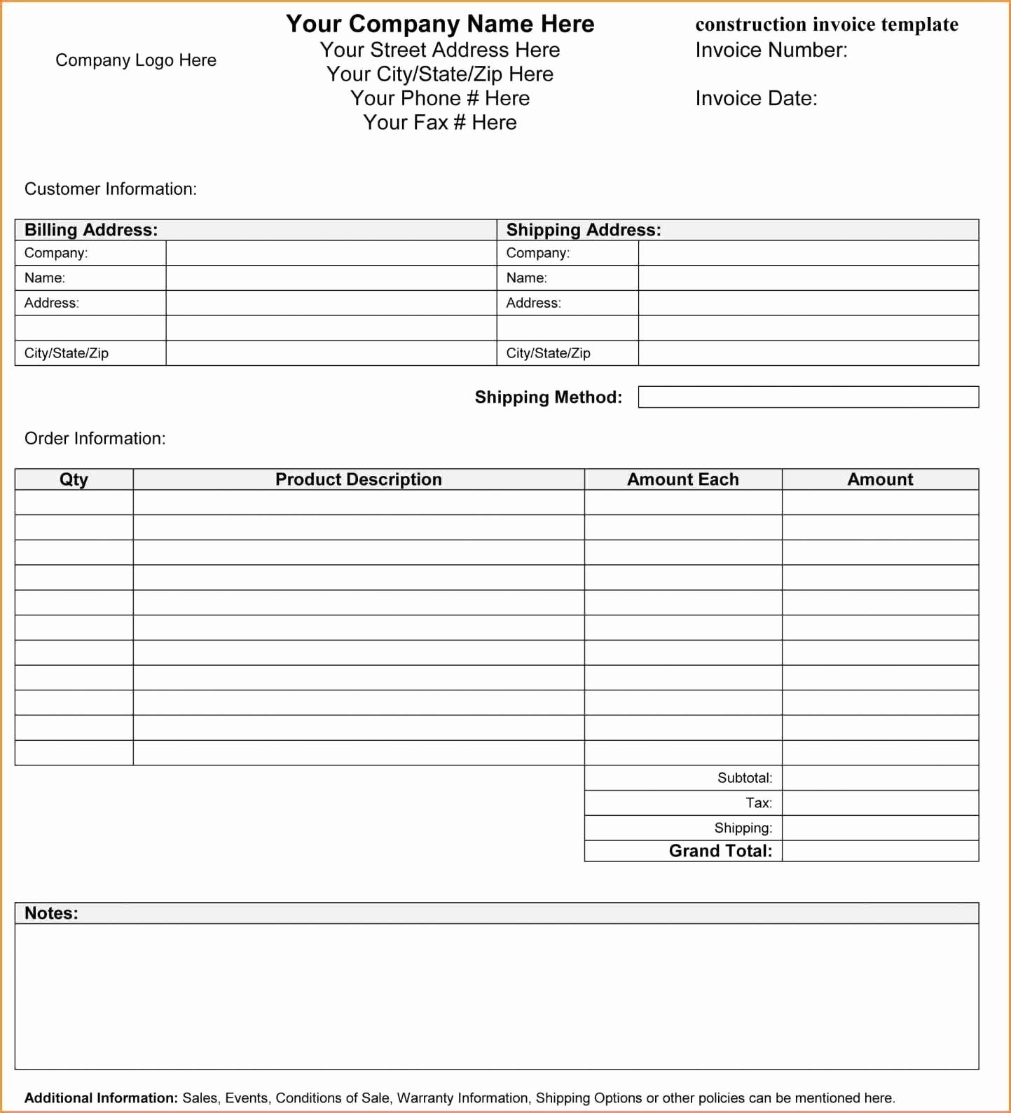 Construction Invoice Template Xls