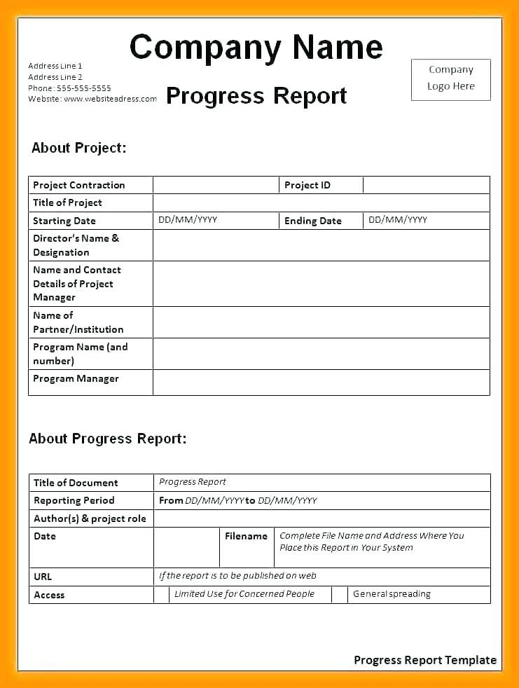 Construction Project Log Template Excel