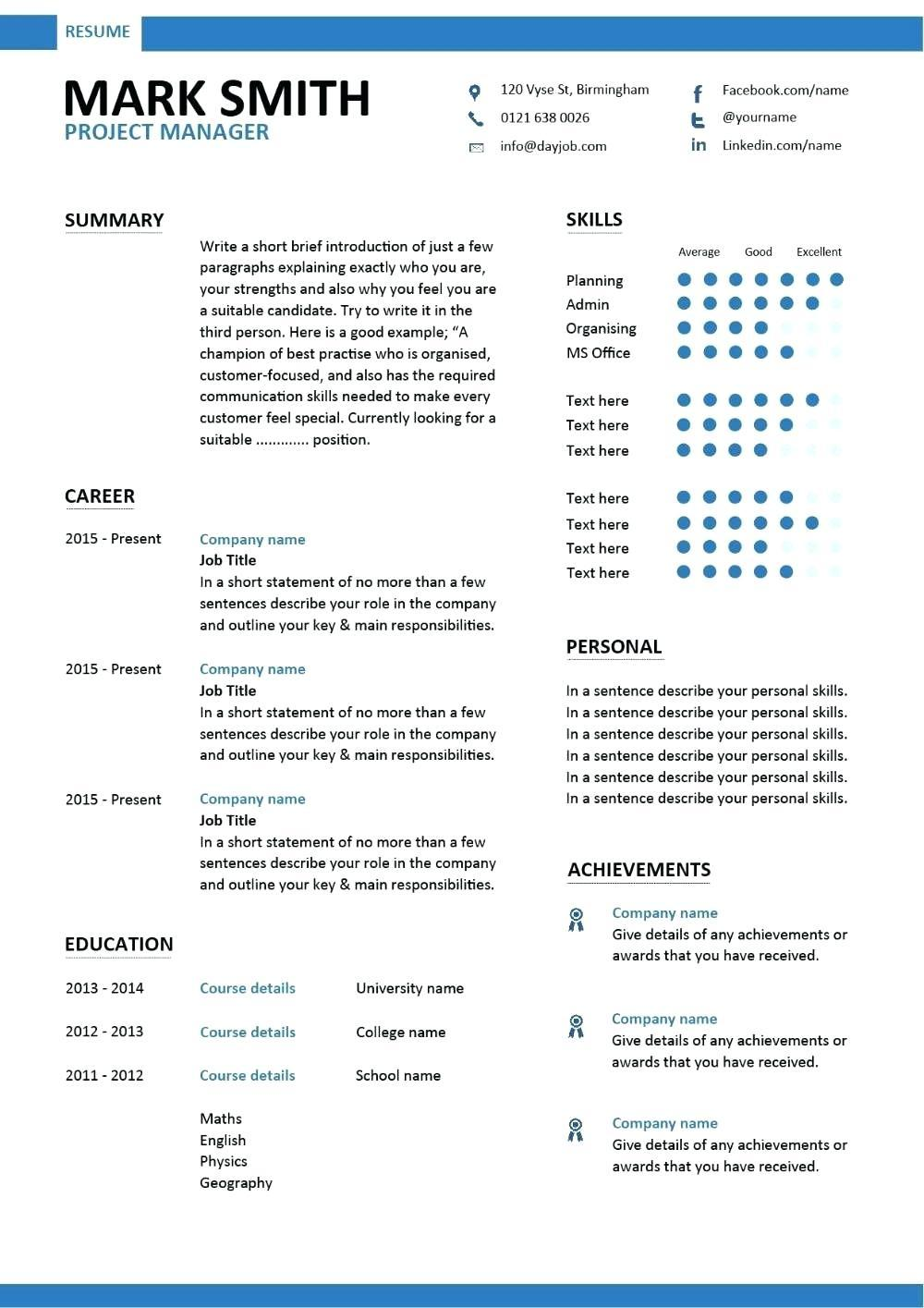 Construction Project Manager Resume Templates