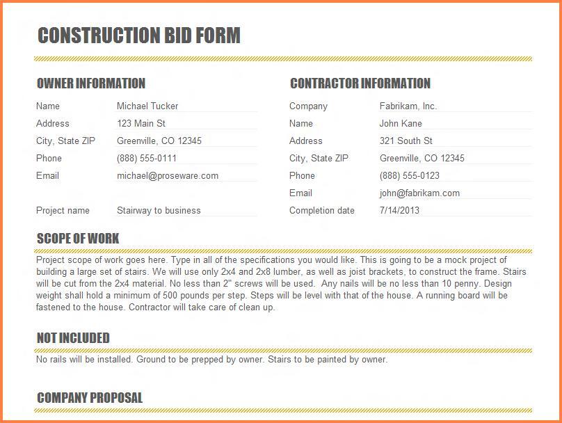 Construction Proposal Format