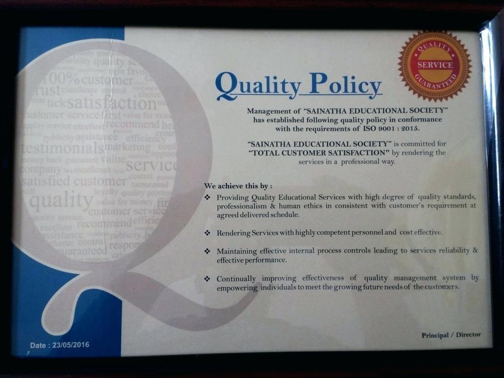 Construction Quality Assurance Policy Template