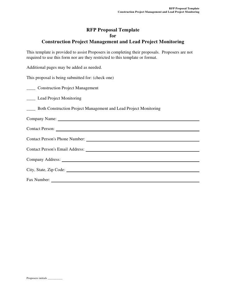 Construction Rfp Template Free