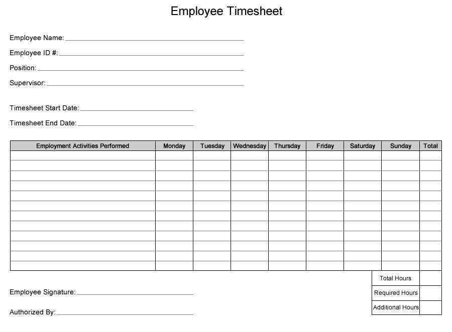Construction Timesheet Templates