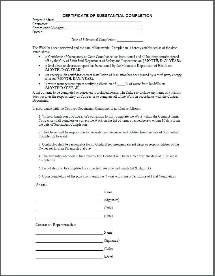 Construction Warranty Form Pdf